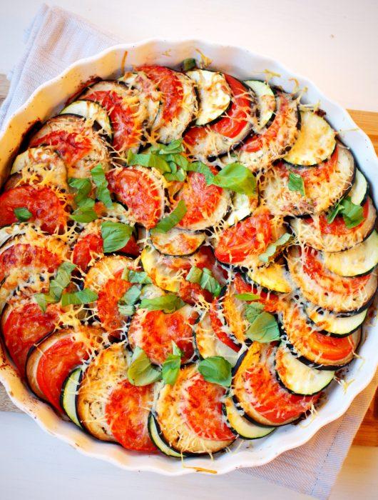 Tian met courgette tomaat en aubergine