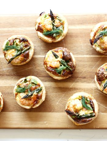Mini quiches met garnalen en asperges