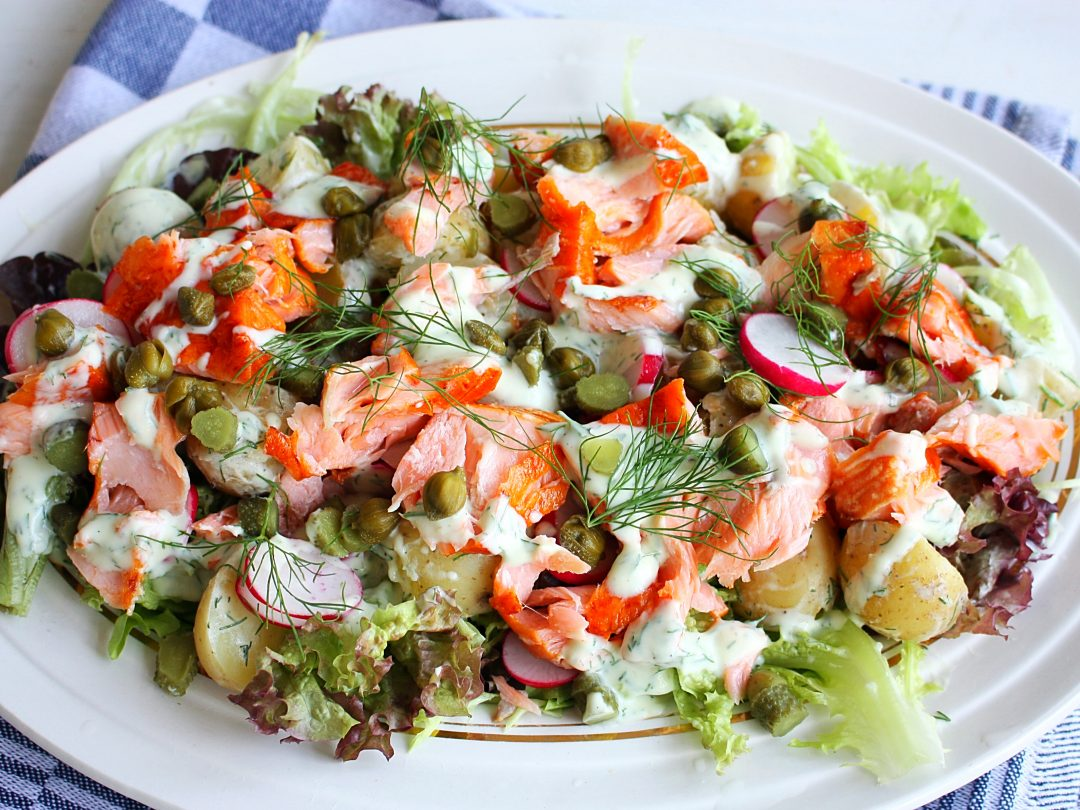 Krieltjessalade met zalm
