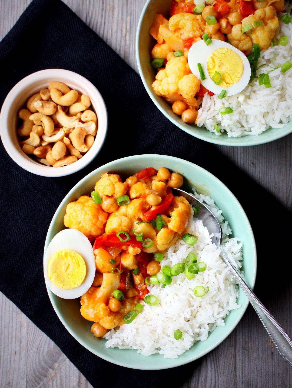 Curry met kikkererwten en bloemkool