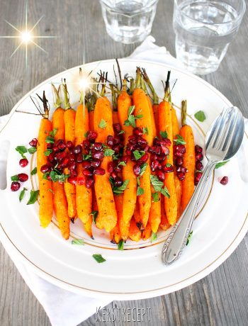 Geroosterde wortel met granaatappel